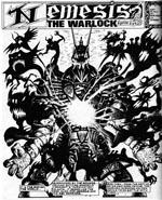 Nemesis The Warlock mens han bruger sin mørke magi (tegnet af Talbot)