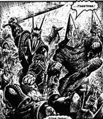 På et tidspunkt i albummet sker det udsandsynlige, at de to ærkefjender Torquemada og Nemesis tvinges til at gøre fælles sag (her tegnet af Talbot)