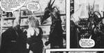 Torquemada og Nemesis i papmaché og fotograferet i en Forbidden Planet-butik
