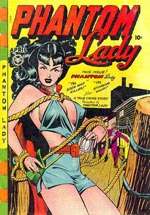 """Sexual stimulation by combining 'headlights' with the sadist's dream of tying up a woman,"" bemærkede dr. Wertham om coveret til 'Phantom Lady' #17 (1948)."