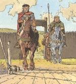 Ridder Aymar og væbneren Olivier.