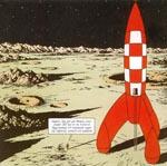 Tintin sætter som den første sine fødder i månestøvet.