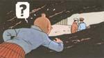 Tintin i kilt spionerer på skurkene