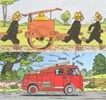 Samme panel i 1943-udgaven (øverst) og 1966-udgaven
