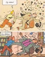Endnu en sammenligning mellem de samme paneler i de to udgaver - 1943-udgaven øverst. Bemærk arbejdet med baggrunden.