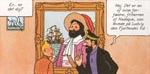 Tintin og Kaptajn Haddock foran maleriet af friherren af Hadoque.
