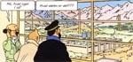 Tintin og Kaptajnen lige efter ankomsten til atomforskningscentret.