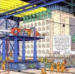Tintin og Haddock vises rundt på atomforskningsanlægget.