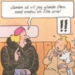 Hverken Tintin eller Terry ser ud til at være begejstrede ved udsigten til endnu en arie fra Madame Bianca Castafiore!