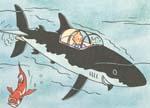 Tintin og Terry dykker i Tournesols undervandsbåd.