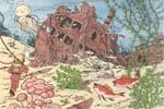 Iført dykkerdragt er Tintin på vej hen for at udforske vraget af Enhjørningen.