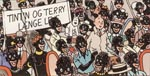 Afrikanerne er behørigt imponerede over at få besøg af Tintin.