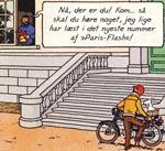 Tintin ankommer til Møllenberg på knallert og iført jeans