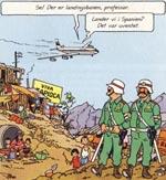 """Haddock og Tournesol ankommer til San Theodoros - bemærk skiltet med """"Viva Tapioca"""""""