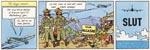 """Den sidste færdigtegnede 'Tintin'-stribe nogensinde - bemærk Hergés beske kommentar til tingenes tilstand: Nu står der """"Viva Alcazar"""" på skiltet, men ellers er intet forandret i slumkvarteret"""